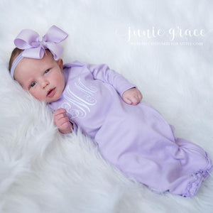 Personalized Baby Girl Coming Home Gown and Headband