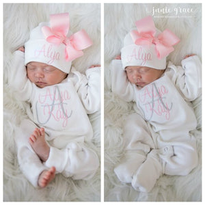 Pink Personalized Baby Girl Romper and Hat Coming Home Outfit