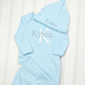 Light Blue Baby Boy Coming Home Gown with White Lettering