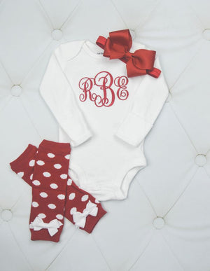 Baby Girl Bodysuit with Matching Red Headband and Leggings