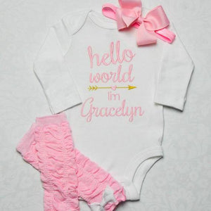 """Hello World"" Newborn Baby Girl 3-Piece Set with Headband, Leg Warmers and Bodysuit"