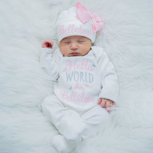 Personalized Hello World Romper and Matching Hat