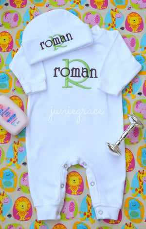 Personalized and Matching Newborn Baby Boy Romper and Hat Set