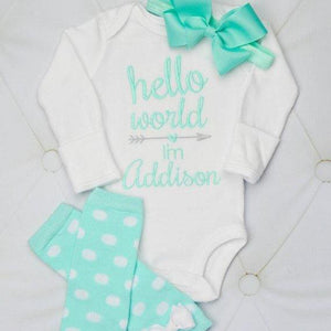 """Hello World"" Aqua and Gray Baby Girl Leg Warmer and Personalized Bodysuit Set"