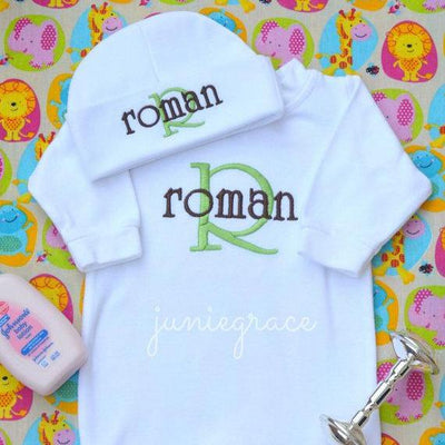 1d806bcfafaa6 Personalized and Matching Newborn Baby Boy Romper and Hat Set - Junie Grace