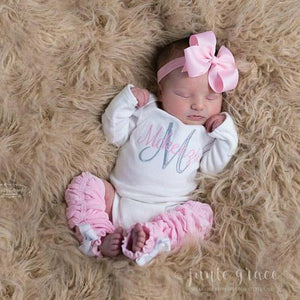 Pink and White Baby Girl Leg Warmer and Personalized Bodysuit Set