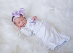 Personalized Baby Girl Coming Home Gown and Bow Headband