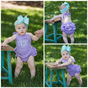 Monogrammed Baby Girl Summer Dress With Bow Headband