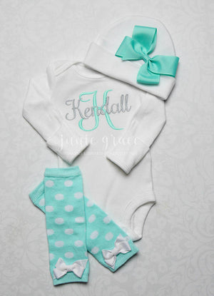 White and Mint Polka Dot Baby Girl Leg Warmer and Personalized Bodysuit Set