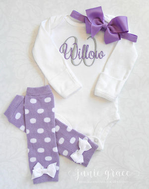 Personalized Custom Embroidered Bodysuit & Purple Polka Dot Leg Warmers