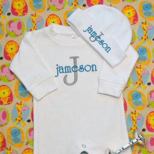 Personalized and Matching Baby Boy Romper and Hat Set