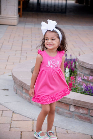 Girl's Monogrammed Pink Dress with Bow Headband