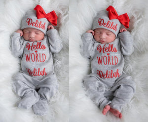 """Hello World"" Baby Girl Red and Gray Coming Home Outfit"