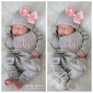 Monogrammed Baby Girl Romper and Hat