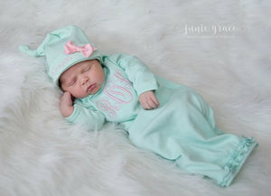 Personalized Baby Girl Coming Home Gown and Hat