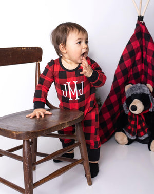 Boy's Personalized Buffalo Plaid Christmas Pajamas