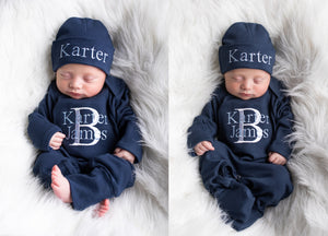 Navy Blue Boys Hat & Romper Outfit