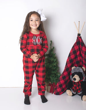 Girl's Personalized Buffalo Plaid Christmas Pajamas