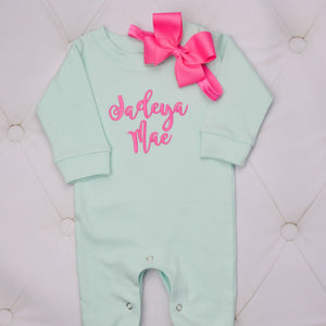 Mint and Pink Romper for Baby Girl with Matching Bow Headband