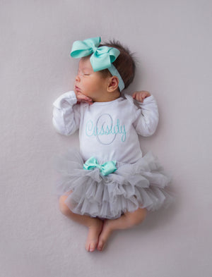 Gray and Aqua Baby Girl Tutu and Personalized Bodysuit