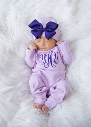 Newborn Girl Monogrammed Romper and Hat Outfit
