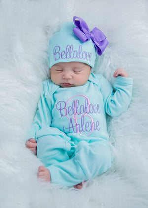 Newborn Girl Personalized Aqua and Purple Hat & Romper Outfit
