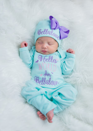 """Hello World"" Newborn Girl Personalized Coming Home Hat & Romper Outfit"