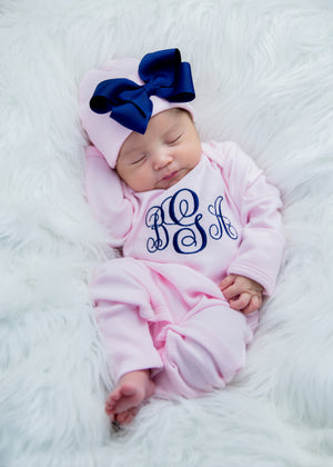 Newborn Girl Monogrammed  Pink and Navy Hat & Romper Outfit