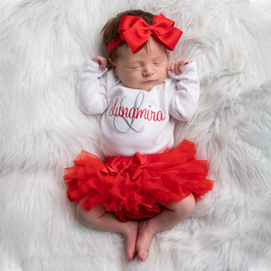 Baby Girl Red and Gray Coming Home Tutu Dress Outfit