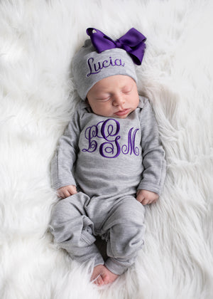 Baby Girl Personalized Gray and Purple Hat & Romper Outfit
