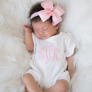 Pink Newborn Baby Girl Coming Home Bubble Romper with Bow Headband