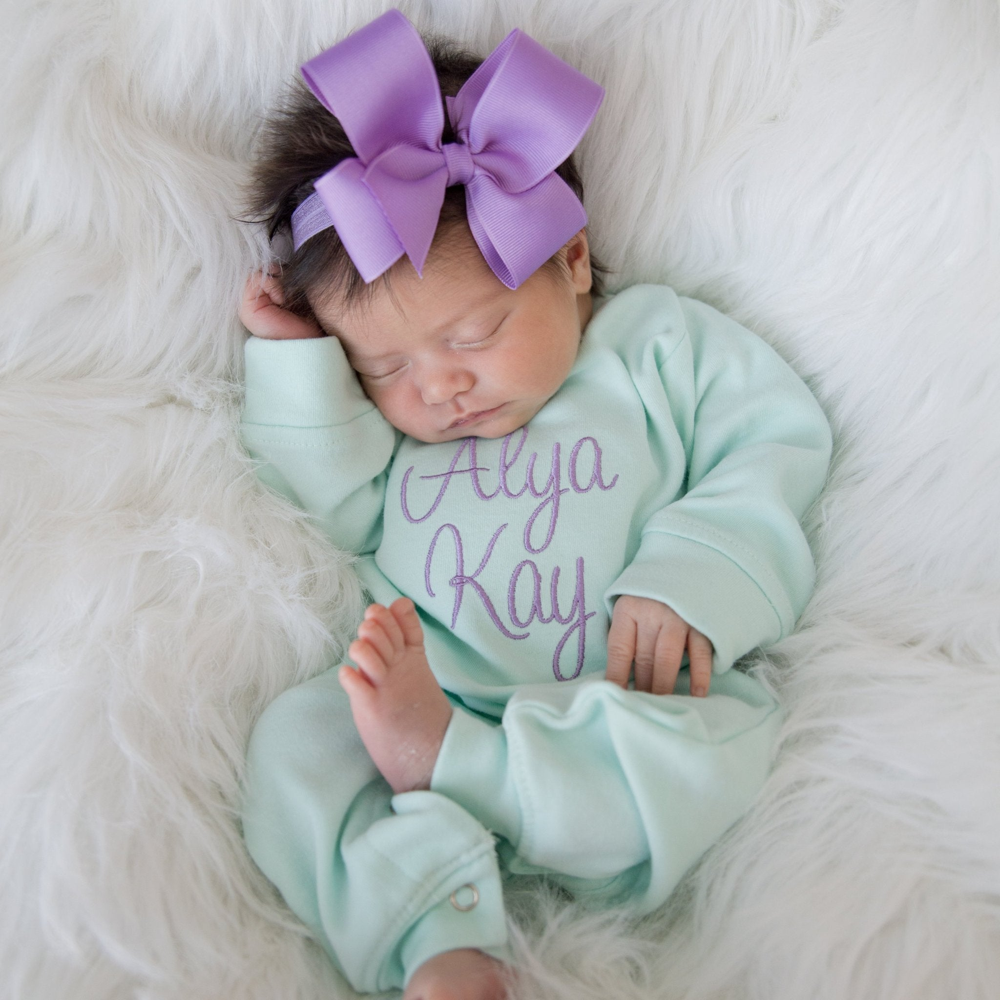 2a1f5a8450e28 Mint and Lilac Newborn Baby Girl Coming Home Outfit with Bow Headband