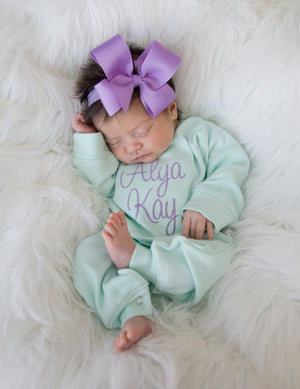 Mint and Lilac Newborn Baby Girl Coming Home Outfit with Bow Headband