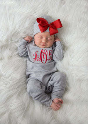 Baby Girl Personalized Gray and Red Hat & Romper Outfit