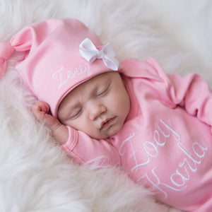 Pink Newborn Baby Girl Coming Home Gown with Hat