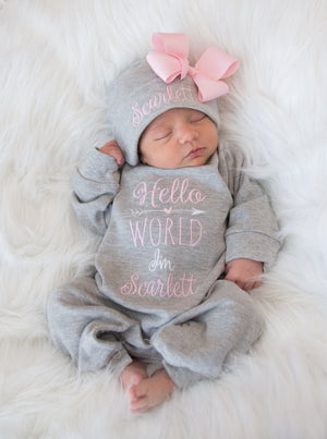"""Hello World"" Personalized Baby Girl Romper Set with Matching Bow Hat"