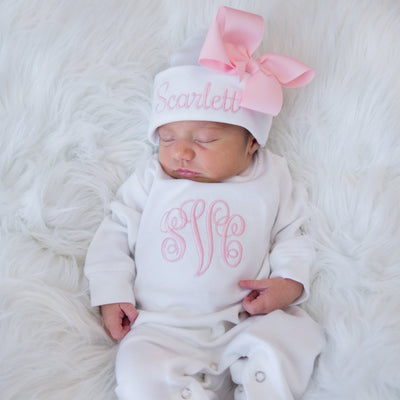b3a2670d458b7 Newborn Baby Girl Personalized Romper with Name and Monogram - Junie Grace