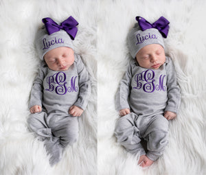 Monogrammed Baby Girl Gray and Purple Romper and Hat Set