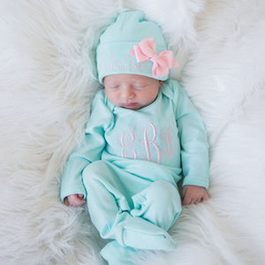 Monogrammed Baby Girl Romper Set and Matching Bow Hat