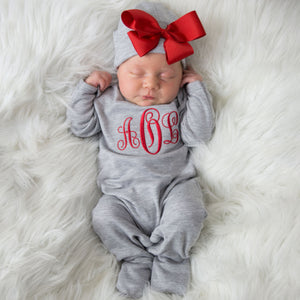 Gray and Red Monogrammed Hat and Romper Set
