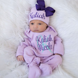 Baby Girl Personalized Matching Purple Hat & Romper Outfit