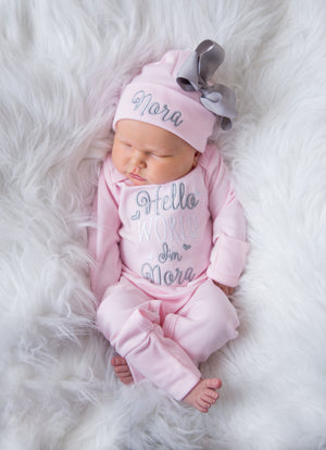 """Hello World"" Newborn Girl Personalized Pink and Gray Hat & Romper Outfit"