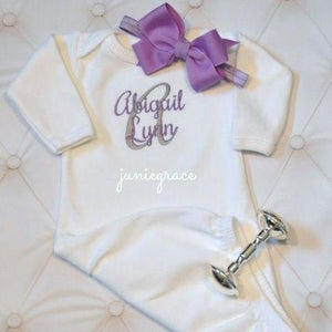 Purple bow and matching embroidered gown with Baby's name