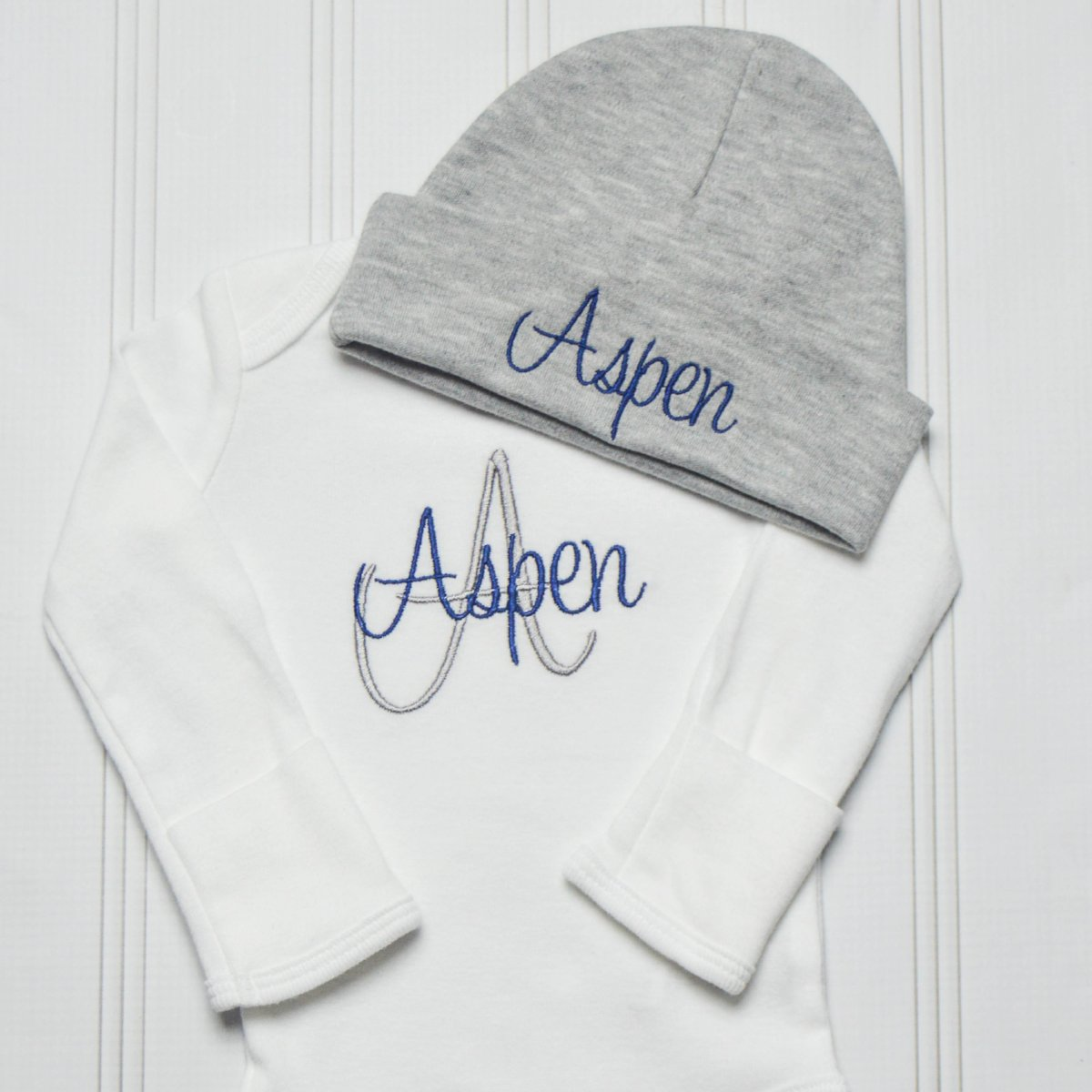 e3fd608fe4146 Aspen embroidered baby bodysuit with matching gray hat. Monogrammed Baby  Boy Coming Home Outfit ...
