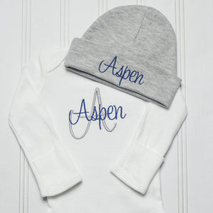 Aspen embroidered baby bodysuit with matching gray hat