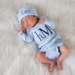 Light Blue Baby Boy Coming Home Outfit with Navy Lettering