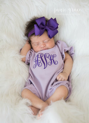 Lavender Bubble Romper with Bow Headband