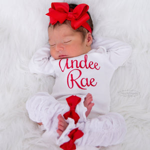 Red and White Baby Girl Leg Warmer and Personalized Bodysuit Set
