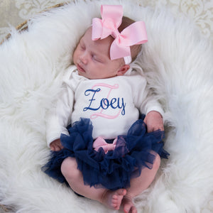 Pink and Navy Baby Girl Tutu and Personalized Bodysuit