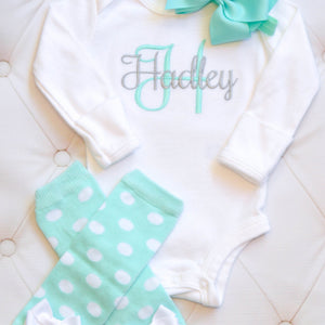 Personalized Custom Embroidered Bodysuit & Mint Polka Dot Leg Warmers